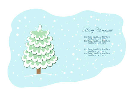 Christmas tree under the snow in winter. Christmas holiday. New Year. Vector. Illustration