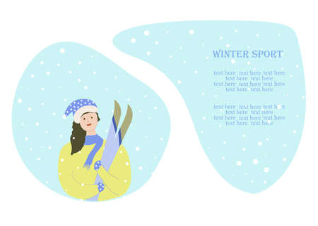 Woman with skiWoman with skis. Winter sport. Christmas holiday. Vector.s. Winter sport. Christmas holiday. Vector. 向量圖像