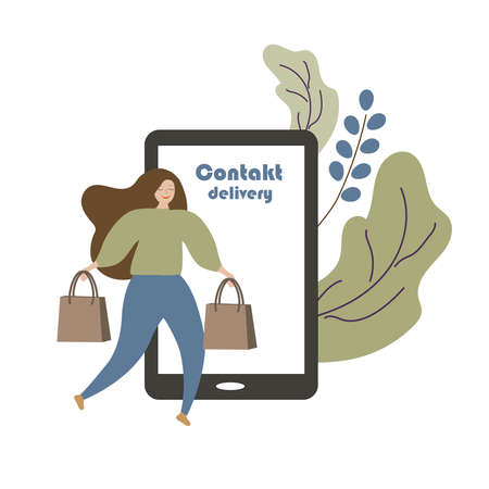 A girl with packages in her hands makes purchases on the Internet by phone. Contactless delivery. Vector illustration.
