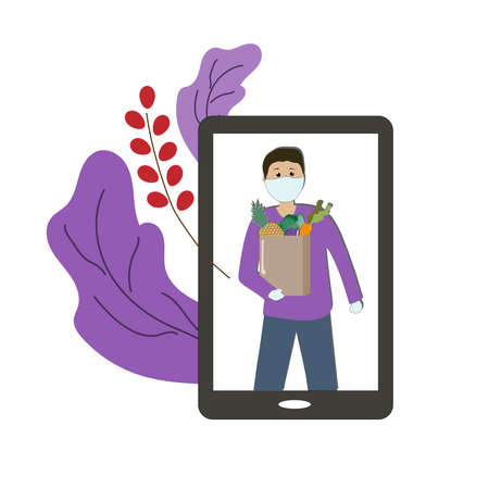 A telephone with a picture of a man in a medical mask delivering goods ordered over the Internet. Contactless delivery. Vector illustration.