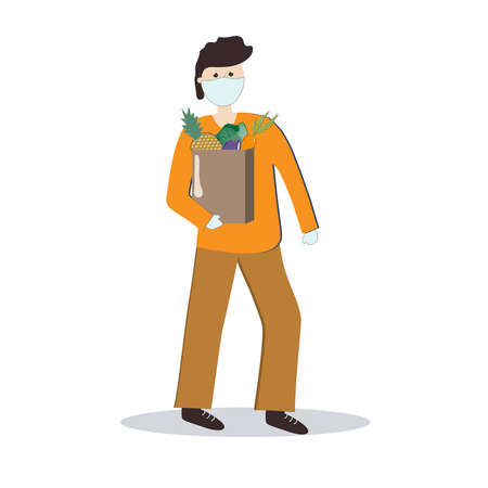 A man in a medical mask and gloves carries a bag of groceries. Contactless delivery. Vector illustration.