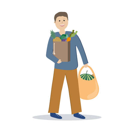 The man carries bags of groceries. Contactless delivery. Vector illustration.