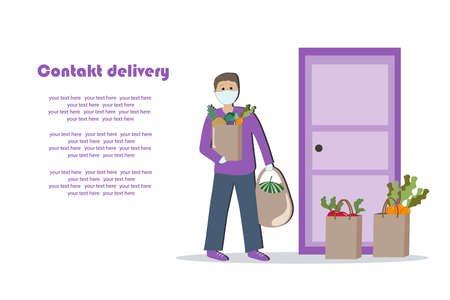 A man in a medical mask and gloves carries food bags to the door. Contactless delivery. Vector illustration.