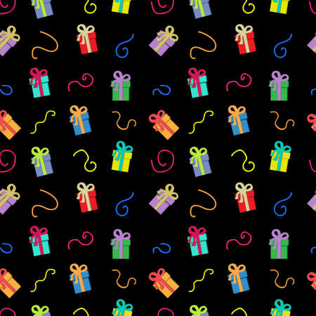 Gift box with colorful ribbons on a black background. Seamless fabric.