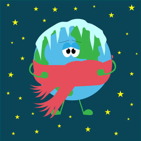 A planet covered in icicles, frozen from frostbite, in a red scarf. Flat vector illustration.