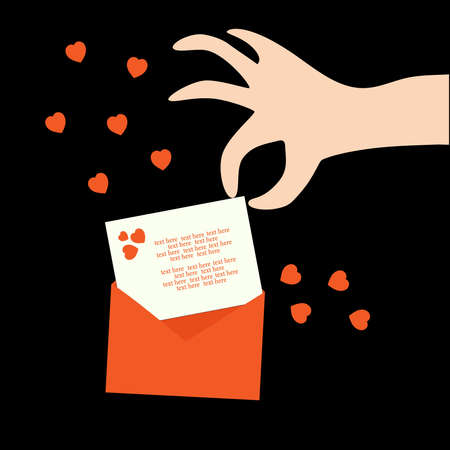 A hand takes out a postcard from an envelope with congratulations on Valentine's Day. Flat vector illustration. Valentine's card. Text. Ilustracja