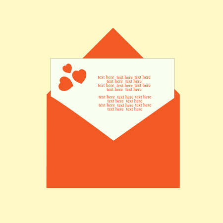 Red envelope with hearts with congratulations on Valentine's Day. Flat vector illustration. Valentine's card. Text.