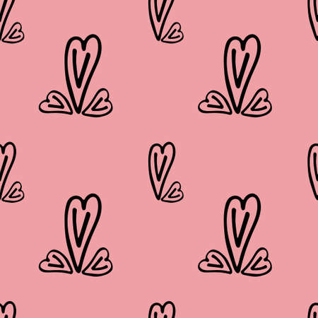 Seamless fabric with hearts of different sizes on a pink background. Vector illustration. Wallpaper. Background.