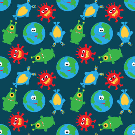 Cute planet and funny multicolored aliens on a blue seamless background. Vector illustration. UFO.