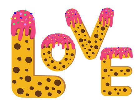 The word Love is lined with letters in the form of a cookie. Isolated vector illustration. Cute english alphabet.