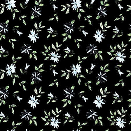 Drawing depicting blue flowers with leaves on a black background. Seamless floral illustration.