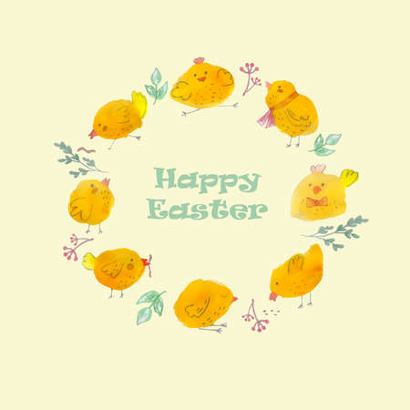 Round greeting frame made of yellow Easter chickens. Easter holiday. Watercolor vector illustration.