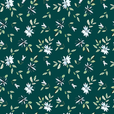 Drawing depicting blue flowers with leaves on a dark green background. Seamless floral illustration.