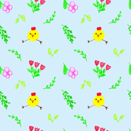 Cheerful chickens with flowers and foliage on a blue background.