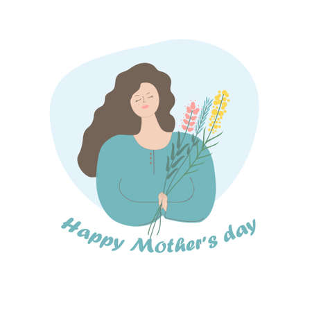 Sweet, dear and tender mother with flowers in her hands. Mother s Day greeting card. Poster or banner template. Vector illustration.