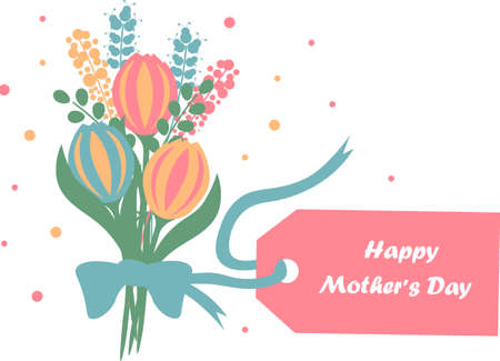 Greeting card for Mother s Day with a bouquet of flowers and a label for the text. Poster or banner template. Vector illustration. Vektoros illusztráció