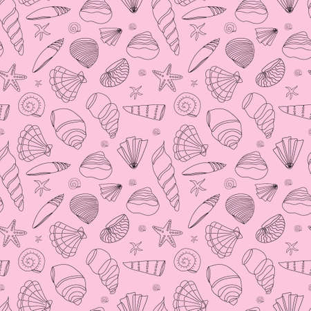 Seamless pattern of seashells in a contour on a pink background. Doodle illustration. Vector background. Wallpaper or background.