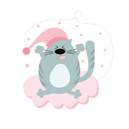 A cute gray cat in a night cap sits and stretches on a pink cloud. Baby shower. Postcard for the frame in the nursery. Morning of the cat. Flat vector illustration.