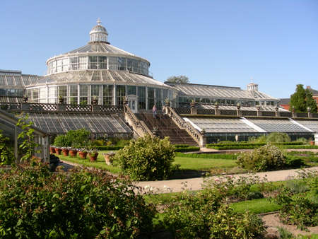 The Botanical Garden in the middle of Copenhagen and the galss house which is the main building