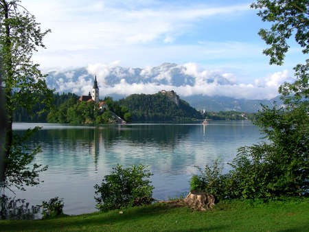 bled: Lake Bled with the small island in the mittlel in Slovenia
