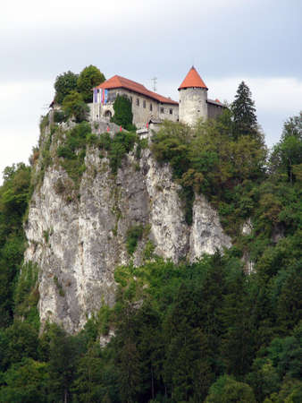 slovenia: Bled castle on a cliff in Slovenia           Stock Photo