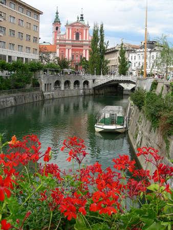 The Ljubljanaica River in Ljubljana the capital of Slovenia         photo