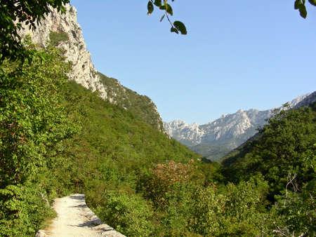 paklenica:  A narrow road leading through Paklenica Park