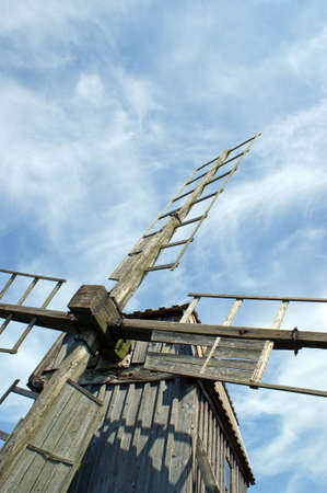 oland: Traditional post mill wooden windmill southern Oland Sweden on a summer day Stock Photo