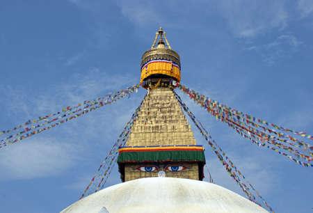 Boudhanath also called Bouddhanath, Bodhnath or Baudhanath or the Khasa Caitya is one of the holiest Buddhist sites in Kathmandu, Nepal.  Stock Photo