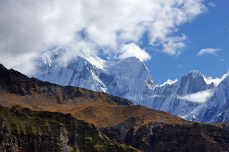 aon: Famous Himalayan peaks aon the route to the awesome mountain amphitheatre seen from Annapurna Base Camp