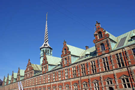 Dragon-spire, one of the oldest buildings in Copenhagen – built by King Christian IV from 1619-1640 in Dutch Renaissance style Stock Photo