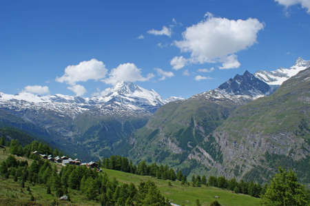 mountain view: View to snowy mountains and the Matterhorn in the Swiss alps Stock Photo