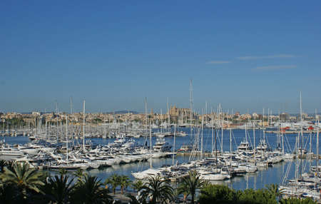 mallorca: Sailboats in the port in Palma de Mallorca