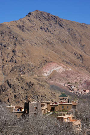 Houses in the village close to Imlil in Toubkal National Park, Morocco  photo