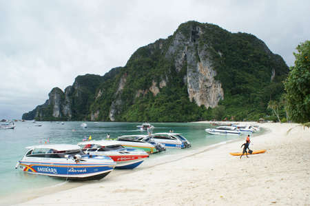 speedboats: Speedboats on the beach on Phi Phi Isslands in the Andaman Sea in Thailand