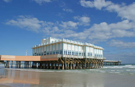 Boardwalk pier on Daytona Beach in the sunshine state of Florida