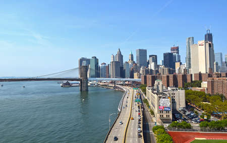 The Lower Manhattan skyline in New York seen from Manhattan bridge