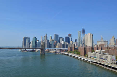 The Lower Manhattan skyline and Brooklyn Bridge in New York seen from Manhattan bridge photo