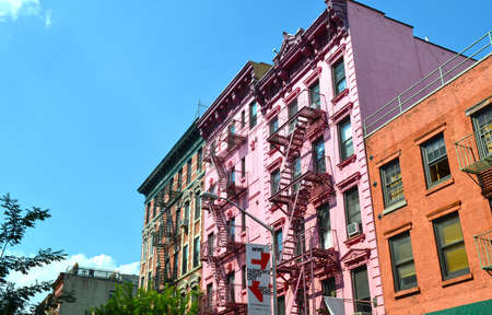 escapes: Typical American-style fire escapes in a street of downtown Manhattan, New York City Editorial