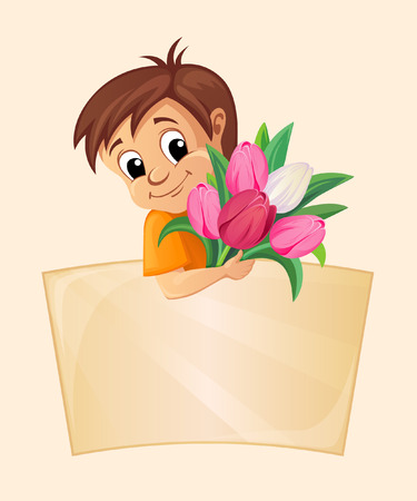 place for text: Boy with tulips and place for text