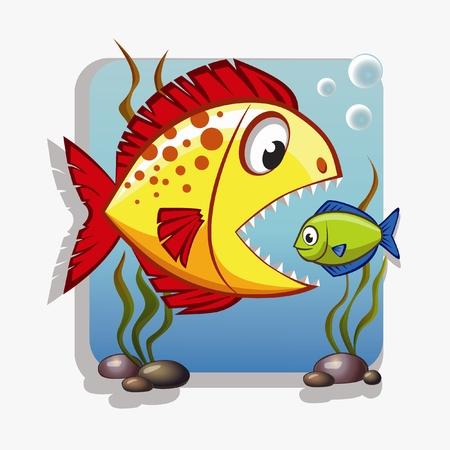 algae cartoon: Big fish absorbs small fish