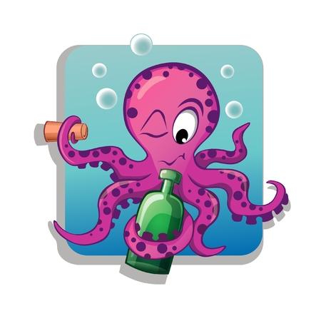 Cartoon octopus with bottle