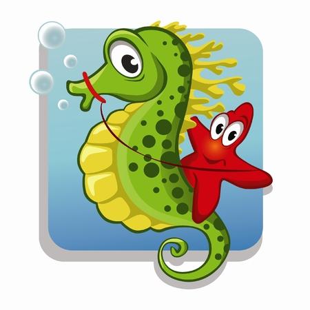 cartoon seahorse: Funny starfish on the seahorse Illustration