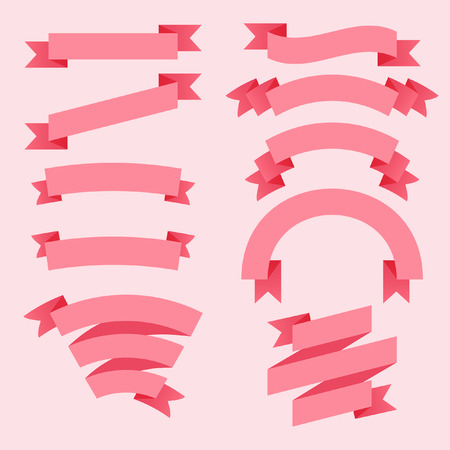 cute text box: Set of pink ribbons