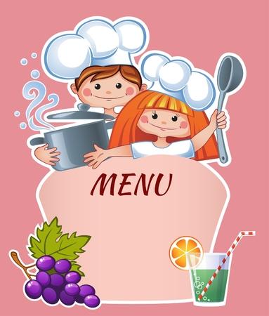 chef caricatura: Plantilla de menú para niños