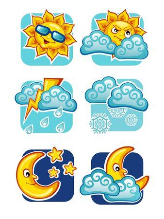 rainstorm: Weather forecast icons set