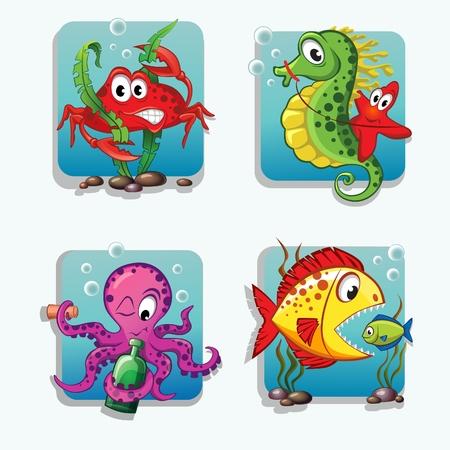 cartoon seahorse: Set of sea animals Illustration