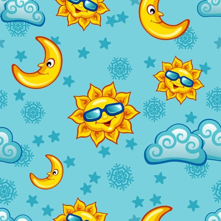 zon en maan: Colorful seamless pattern with sun, moon and clouds for children
