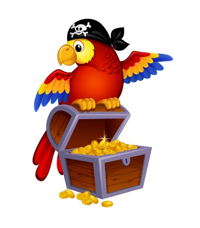 Parrot on the treasure chest