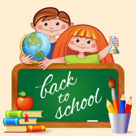 childrens book: Back to school. Boy and girl with blackboard